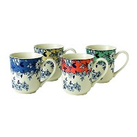 Johnson Brothers Devon Cottage Accent Mug (Set of 4), Green/Yellow/Blue/Red by Johnson Brothers