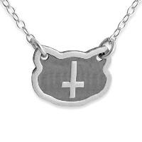 Two-tone 925 Sterling Silver Inverted Cross Necklace (14 Inches)