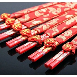 Chinese Bamboo Chopsticks (10xRed Chopsticks) by BFloweYan