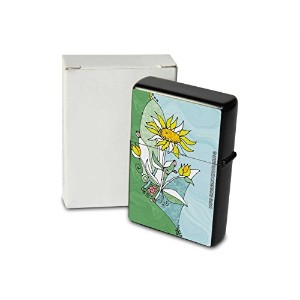 Petrol lighter ライター Printed abstract flower white yellow petals