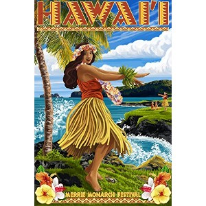 Hawaii Hula Girl on Coast – Merrie Monarch Festival 16 x 24 Giclee Print LANT-43214-16x24
