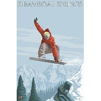 Snowboarder jumping–Steamboat Springs、コロラド州 9 x 12 Art Print LANT-29171-9x12