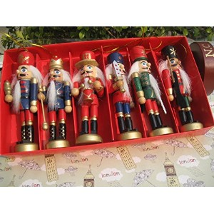 6 pcs per set, handmade nature wooden nutcrackers ,soldier nutcrackers 1 セット 6 つ 高さ12cm ,手作り木製の装飾品...