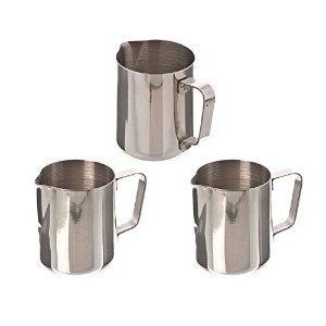 Tiger Chef EP-12 Stainless Steel Frothing Pitcher, 12-Ounce, Set of 3 by Tiger Chef