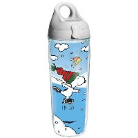 Tervis Peanuts Christmas Individual Wrap Water Bottle with Gray Lid, 24 oz, Clear by Tervis