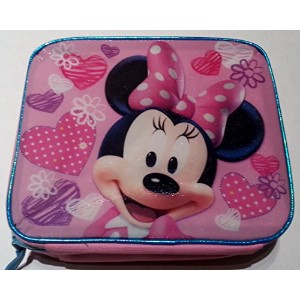 Minnie Mouse Pink and Blue Insulated Lunch Box with Hearts, Flowers and Glitter by Walmart