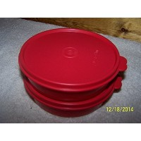 Tupperware 1 1/2cup Medium Wonder Bowl set of (2) Red with Matching Seals by Tupperware