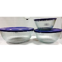 Pyrex Sculptured Bowlsバンドル: 3 Sculptured Bowls withブループラスチックLids – 4.5 QT、10 Cup and 6 Cup