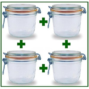 Set of 4 - Le Parfait French Wide Mouth Glass Canning Jars - 17.5 Oz Each by LeParfait