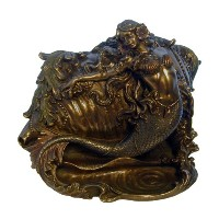マーメイドand Conch Trinket Box , Bronze Powder Cast Statue 7.5-in