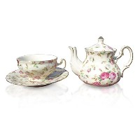Elizabeth Park Floral Rose Chintz Tea for Oneティーポット磁器カップ、and Saucer Set