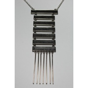 House of Harlow 1960 (ハウスオブハーロウ1960) Black Leather Totem Pole Necklace Silver 【並行輸入品】