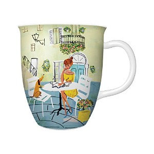 Studio Oh! Ceramic Mug, The Good Life in a Cafe by Louise Cunningham, Multicolor by Studio Oh