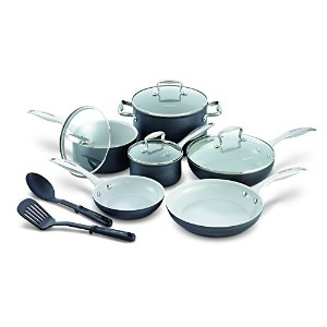GreenLife 12 Piece Hard Anodized Non-Stick Ceramic Classic Cookware Set by The Cookware Company
