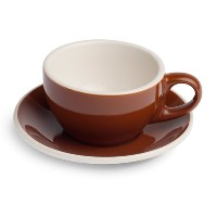Renaissance Classic Italian Line Cup & Saucer, Set of 6 (6.0 oz, Brown) by Visions Espresso