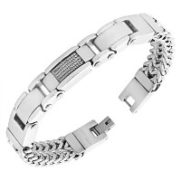 EDFORCE Stainless Steel Silver-Tone Twisted Cable Rope Men's Classic Link Chain Bracelet