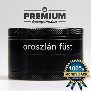 Oroszlテδ。n Fテδシst, Herb Grinder, 4 Piece, 2.5 Inch, with Pollen Catcher and Scraper, Black by...