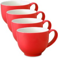 FORLIFE Q Tea Cup withハンドル( Set of 4) 10 oz. レッド 521-RED-4
