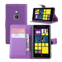 Premium Leather Wallet Flip Bracket Case Cover for Nokia Lumia 925 (Wallet - Purple) by Fettion