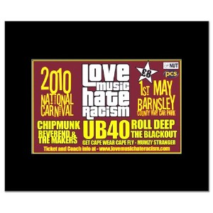 LOVE MUSIC HATE RACISM FESTIVAL - 2010 - UB40 Chipmunk Mini Poster - 21x13.5cm
