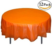 Premium Plastic Tablecloth 84in. Round Table Cover - Orange by Exquisite
