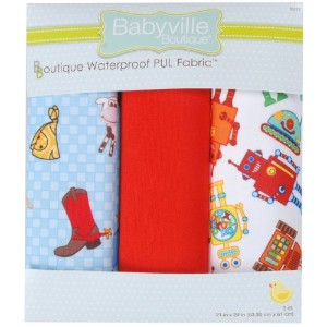 "Babyville 防水おむつ布 21""× 24""カット 3/Pkg PUL Cowbaby & ロボット"