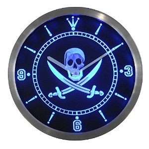 LEDネオンクロック 壁掛け時計 nc0452-b Pirates Skull Head Bar Pub Beer Neon Sign LED Wall Clock