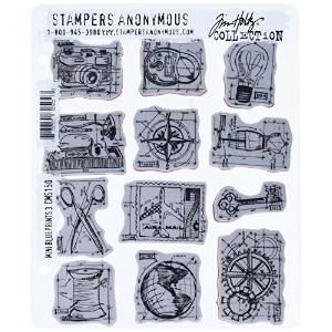 Stampers Anonymous Tim Holtz Cling Rubber Stamp Set, 7 by 8.5-Inch, Mini Blueprints No.3 by...