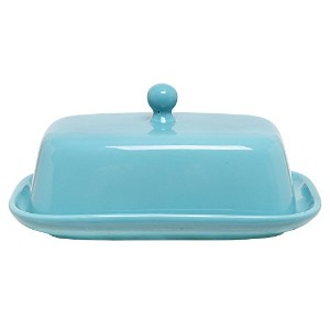 MyGift Turquoise Blue Ceramic Butter & Margarine Dish / Serving Plate with Lid Cover by MyGift