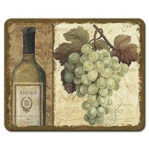 Chateau White Grapes Vineyard 10 Inch Glass Kitchen Bar Cutting Board by Highland Graphics