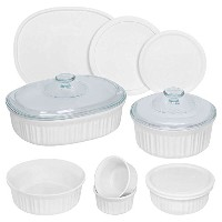CorningWare 12 Piece Round and Oval Bakeware Set, White by CorningWare