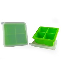 MIREN 2 Inch Large Premium Silicone Ice Cube Tray with Lid,4 Cube,Set of 2, Green by MIREN