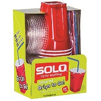 Solo 9 Oz Plastic Cup, Lid, and Straw Combo Pack, 15 Cups (No BPA) (Red) by SOLO Cup Company