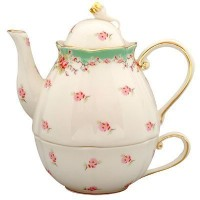 Green Vintage Rose 3 Piece Tea for One Stackable Tea Pot with Lid and Cup by CoastLine
