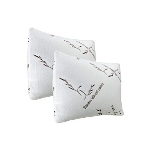 2 Pack Plixio King Size Shredded Cooling Memory Foam Bamboo Pillow with Removable Cases - Hypoallerg...