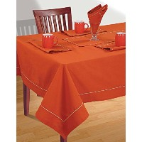 RUSTY ORANGE Tablecloth Spring Decorations for Home Size- 54 X 54 Inches by ShalinIndia