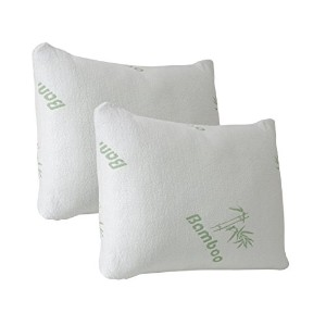 2 Pack Plixio Queen Size Shredded Cooling Memory Foam Bamboo Pillow with Removable Cases -...