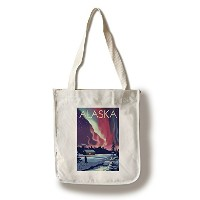 アラスカ – Northern Lights andキャビン Canvas Tote Bag LANT-44983-TT