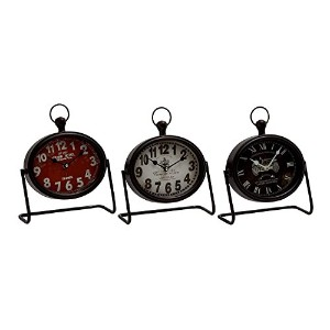 Deco 79 Metal Table Clock, 3 Assorted, 9 by 9' [並行輸入品]