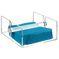 Modern Clear Acrylic Kitchen Napkin Holder Rack with Center Bar Weighted Arms - MyGiftテつョ by MyGift
