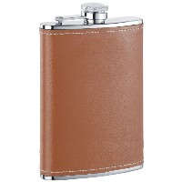 Visol Bobcat Leather Stainless Steel Flask, 8-Ounce, Brown by Visol