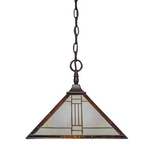 Toltec Lighting 12-DG-954 Chain Hung Pendant with Square Fitter with 14 Santa Fe Tiffany Glass,...