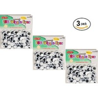 Set of 3 Creative Arts by Charles Leonard Wiggle Eyes, Peel'n Stick, Black, Assorted Sizes, 100/Bag...