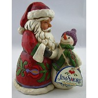 Enesco 4051217 2015 Dated Santa with Snowman Figurine by Enesco [並行輸入品]