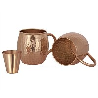 Moscow Mule Copper Mugs, set of 2 Pure Copper Mugs - Copper Moscow Mule Mug, 16 Oz Copper Cups with...