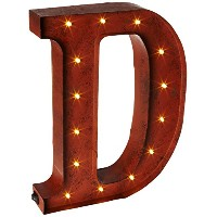 The Gerson会社「D」LED照明付きメタルLetter with Rustic Brown Finish