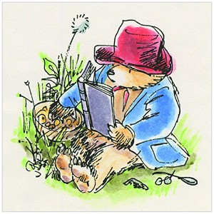 Marmont Hill Paddington Bear Reading in the grassキャンバス壁アート 18 by 18-Inch PT-PAD-175-C-18