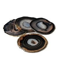 Airblasters Black Color 3-3.5 Inch Natural Sliced Agate Coaster Set of 4 by Vansaile