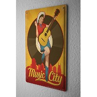 Tin Sign ブリキ看板 Bar Party Wall Decoration Guitar Music City Metal Plate
