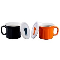 Corningware Pop-Ins 20-Ounce Mug with Vented Plastic Cover (black and Orange Color) by CorningWare